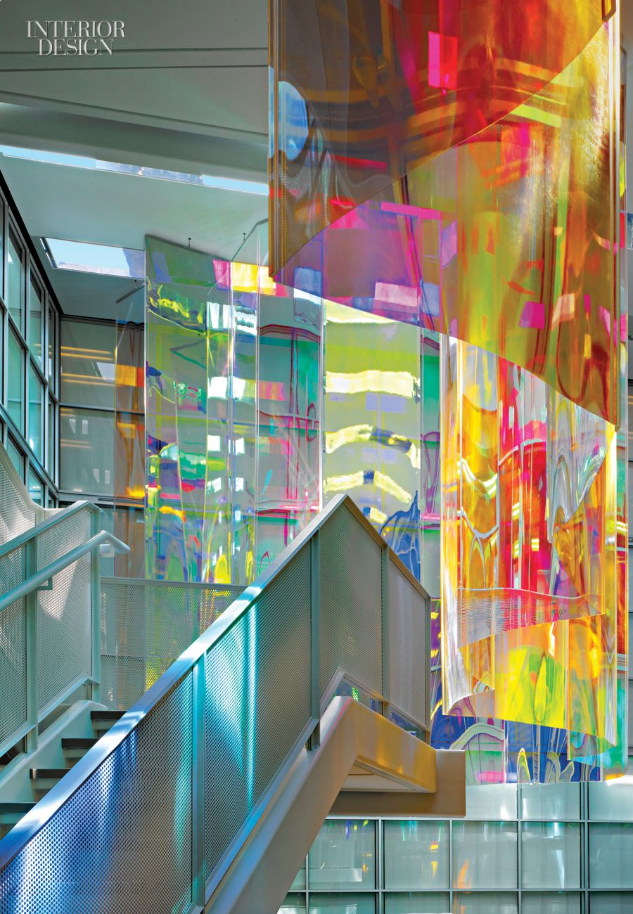 Dichroicacrylic panels lend a shimmering rainbow touch to - Interior designers oklahoma city ...