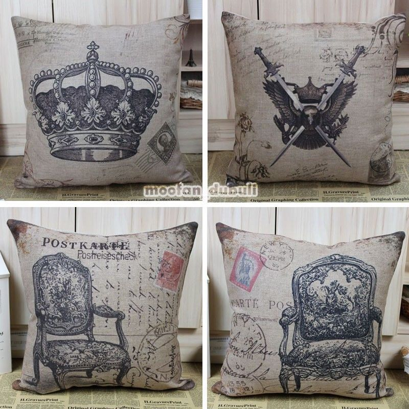 Retro Vintage Stamp Chair Sword Crown Linen Throw Cushion