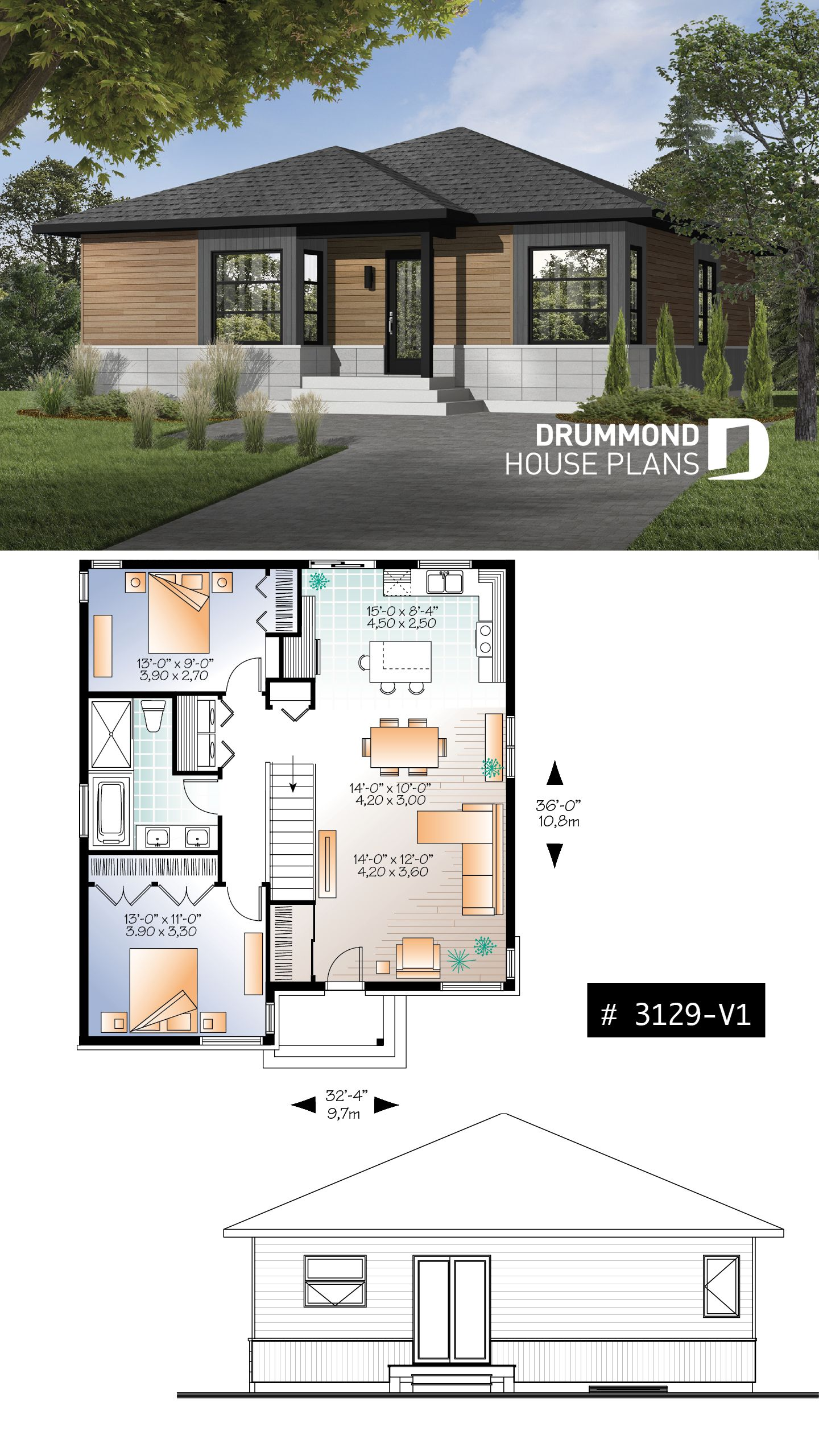 Discover The Plan 3129 V1 Rising Moon 2 Which Will Please You For Its 2 Bedrooms And For Its Contemporary Styles Modern Style House Plans Bungalow House Design Modern House Design