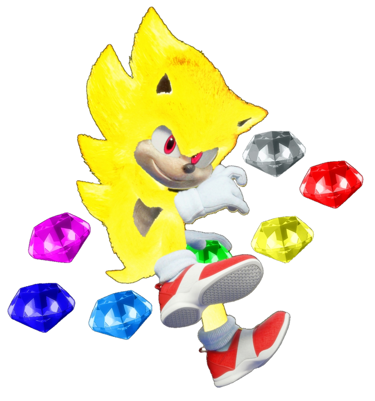 Super Sonic With The Chaos Emeralds In 2020 Hedgehog Movie Mario Characters Pikachu