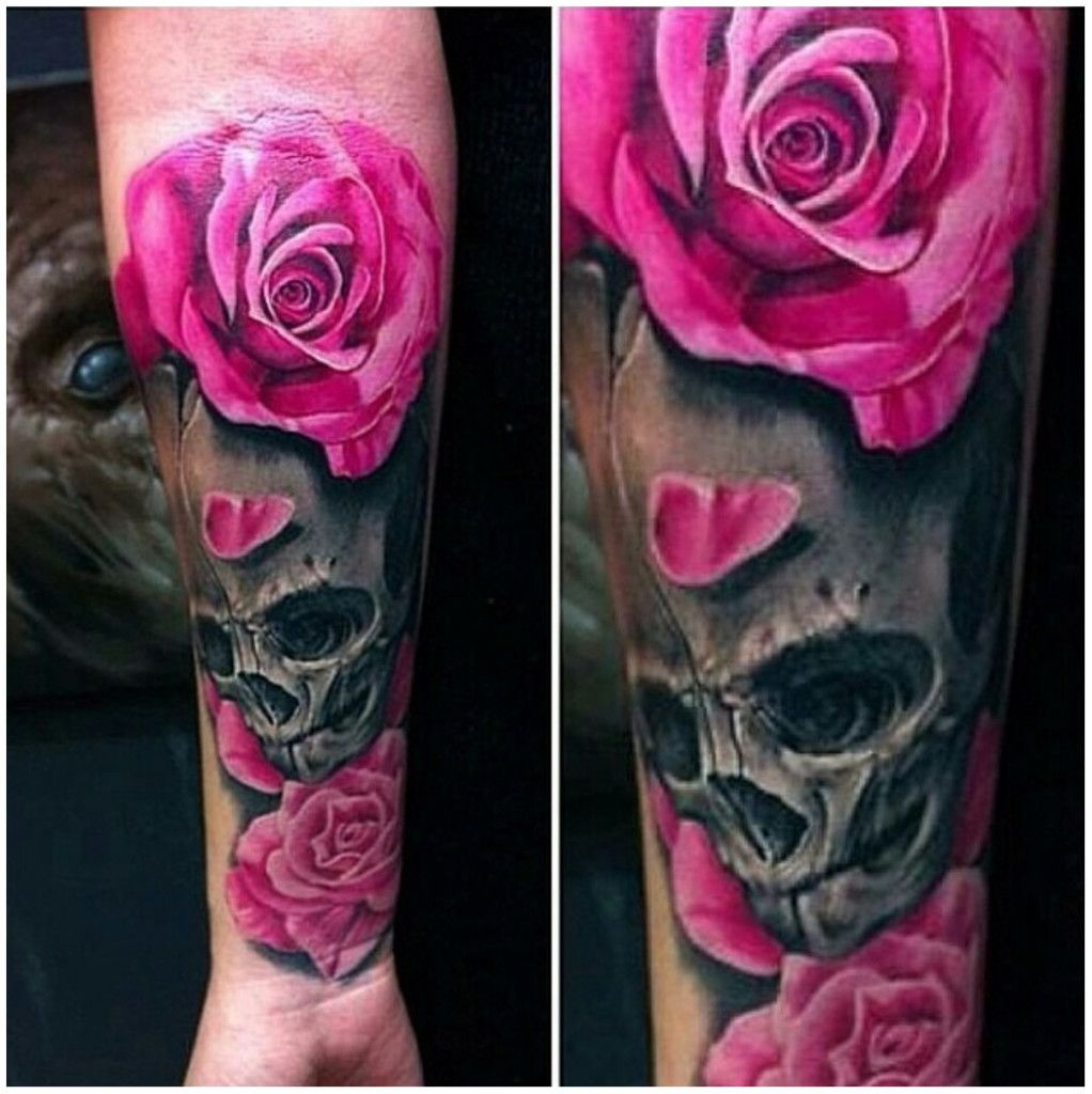 Sugar Skull And Roses Tattoo Meaning Black And White With Pink
