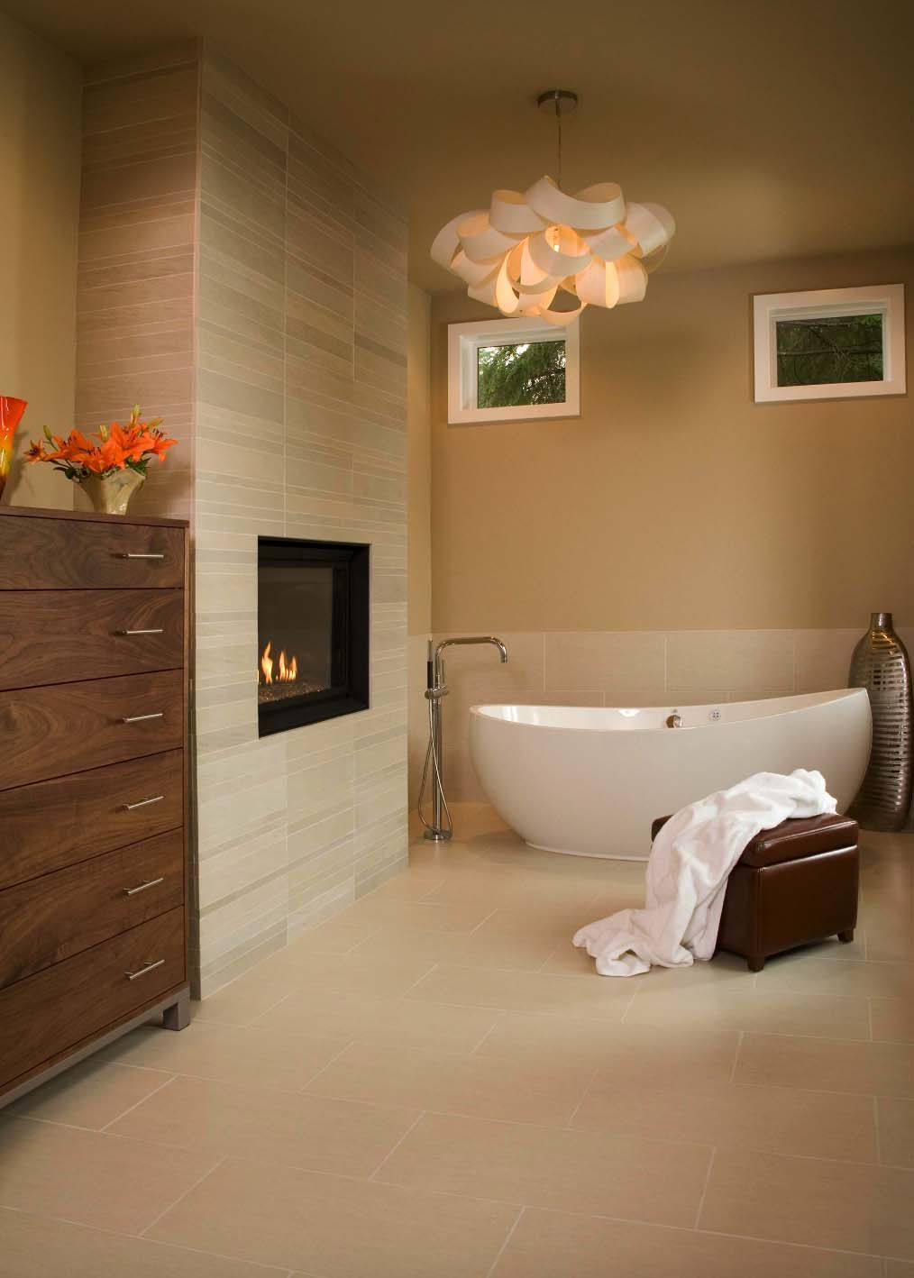 20 Inspiring Ideas To Create A Dreamy Master Bathroom Retreat Bathroom Fireplace Master Bathroom Makeover Bathrooms Remodel