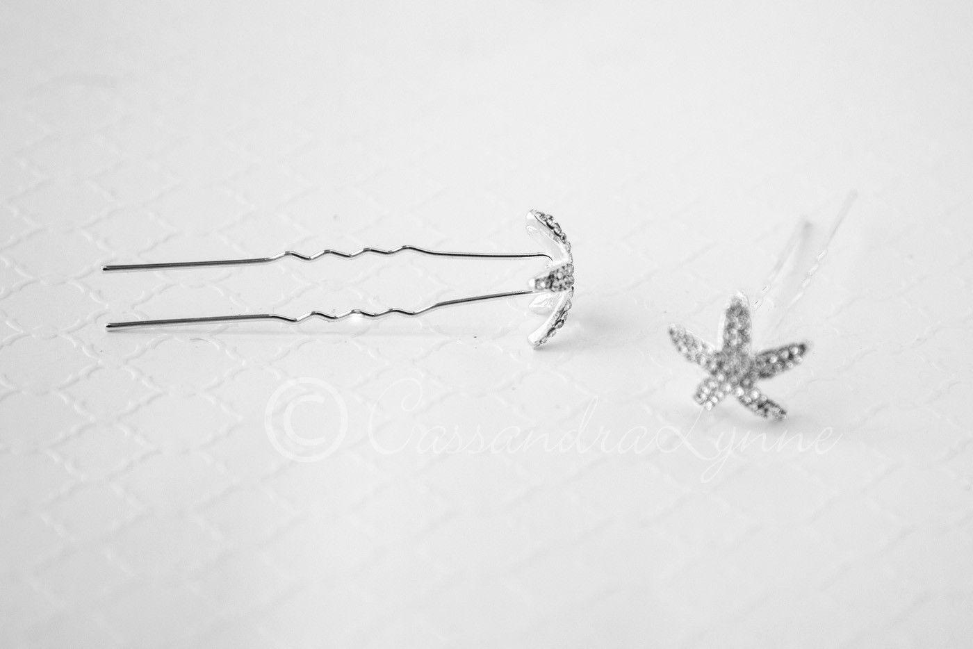 Crystal Contoured Starfish Hair Pin Set