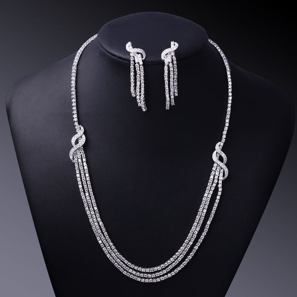 89da54422 Luxury wedding Jewelry Sets for Women gold color White CZ Crystal Necklace  and Earrings Bridal Jewerly Set Free shipment. Find More ...