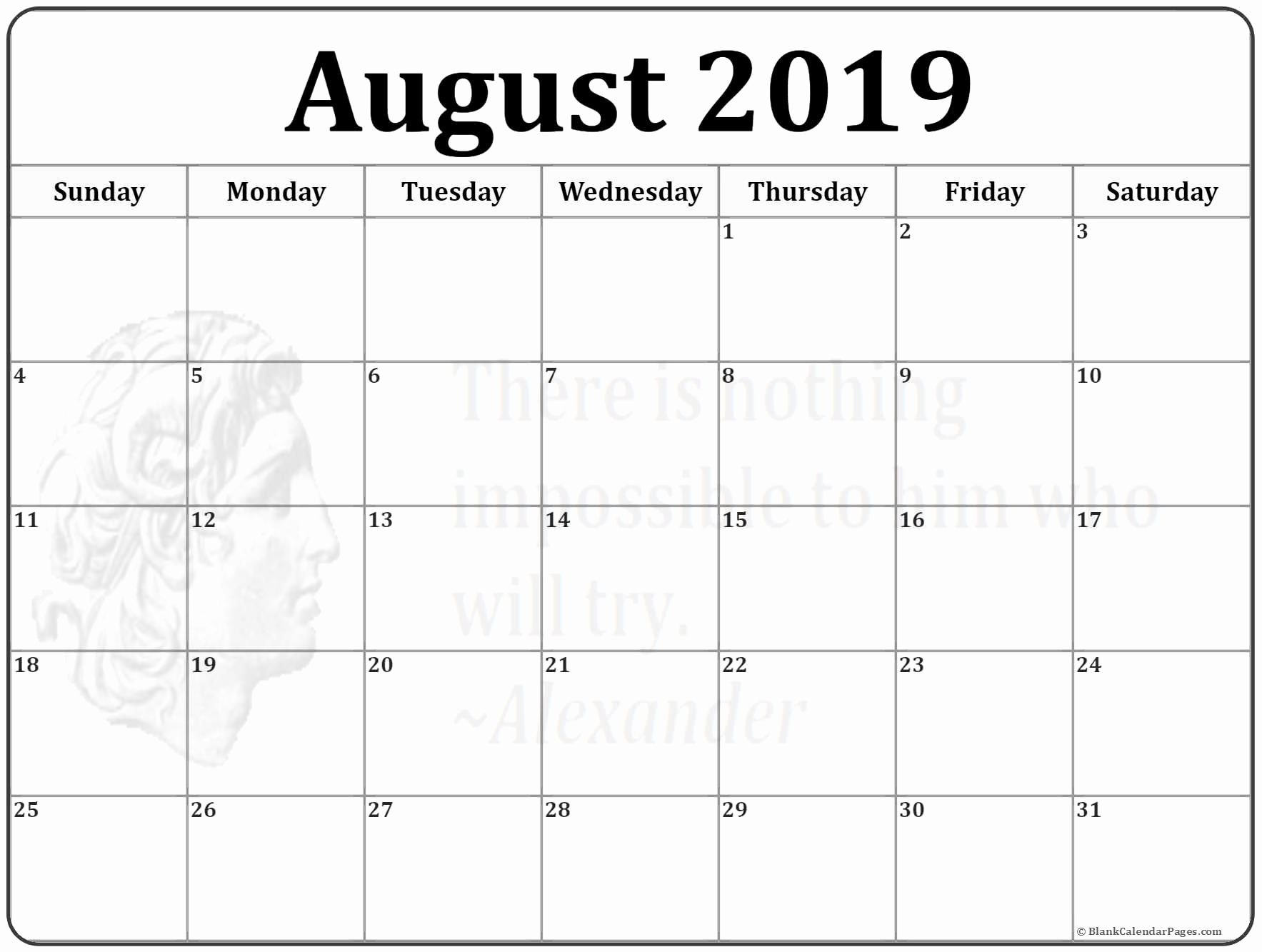 picture regarding August Printable Calendars identify August 2019 Calendar Blank #august #august2019 #2019calendar