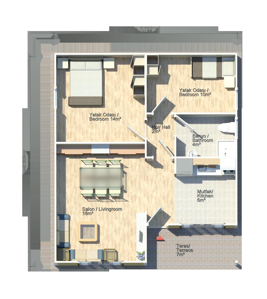 Papatya 62m2 floor plans