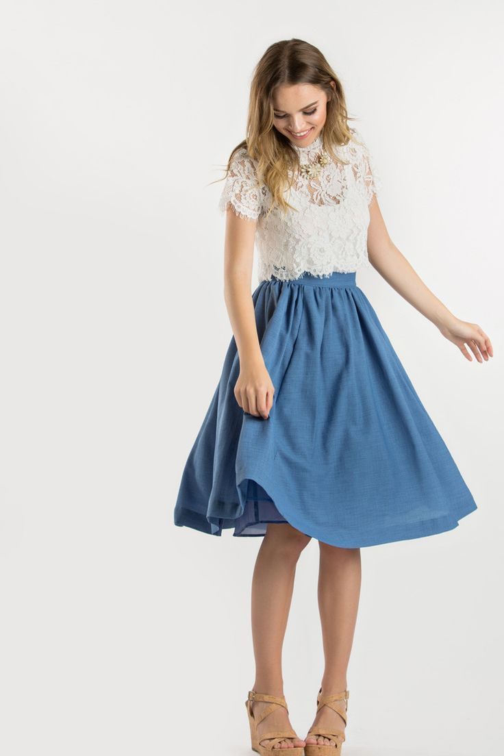 0ebaeae27b Shirley White Lace Capsleeve Top Midi Skirt Outfit Casual, Denim Skirt Midi,  Blue Top