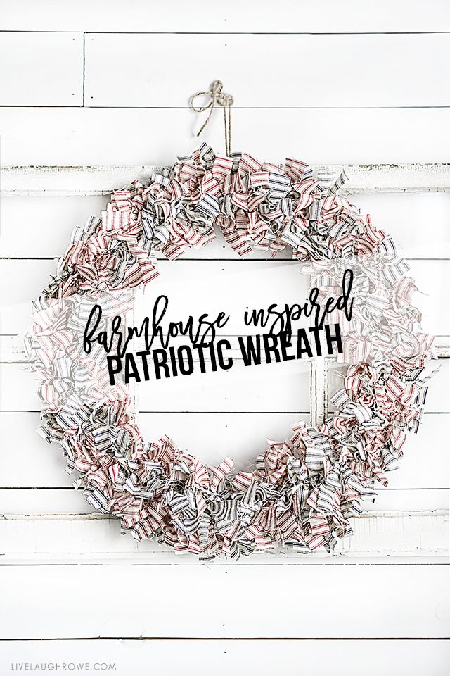 Farmhouse Inspired Patriotic Wreath Made Using Ticking Fabric In Navy And Red Love It