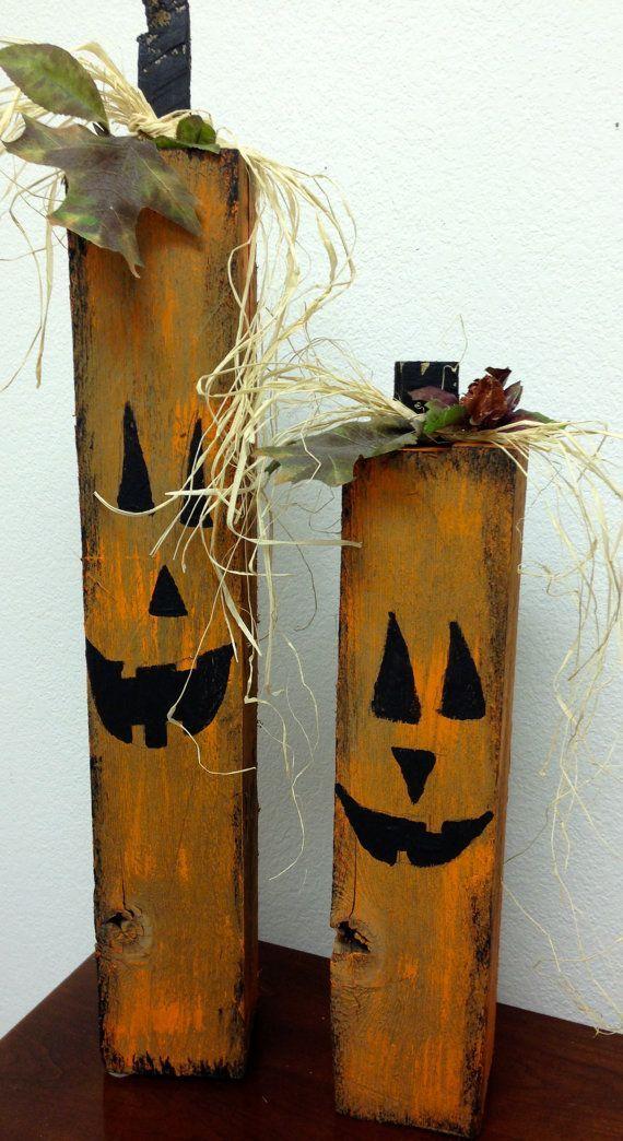 adornos halloween en madera reciclada