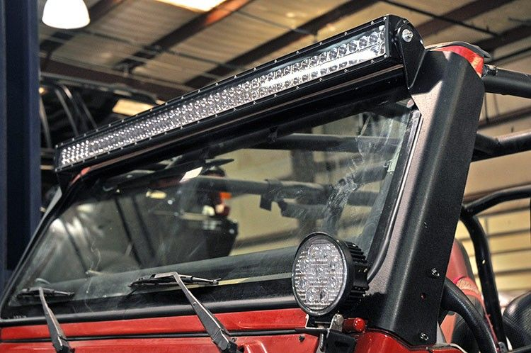 Jeep led hood light rough country jeep tj upper windshield led jeep led hood light rough country jeep tj upper windshield led light bar mounts mozeypictures Gallery