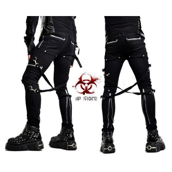 3f624551d3b37 TRIPP CHAOS BONDAGE SKINNY ZIPPER BIKER GOTHIC GOTH JEANS PANTS MOTO... ❤  liked on Polyvore featuring jeans