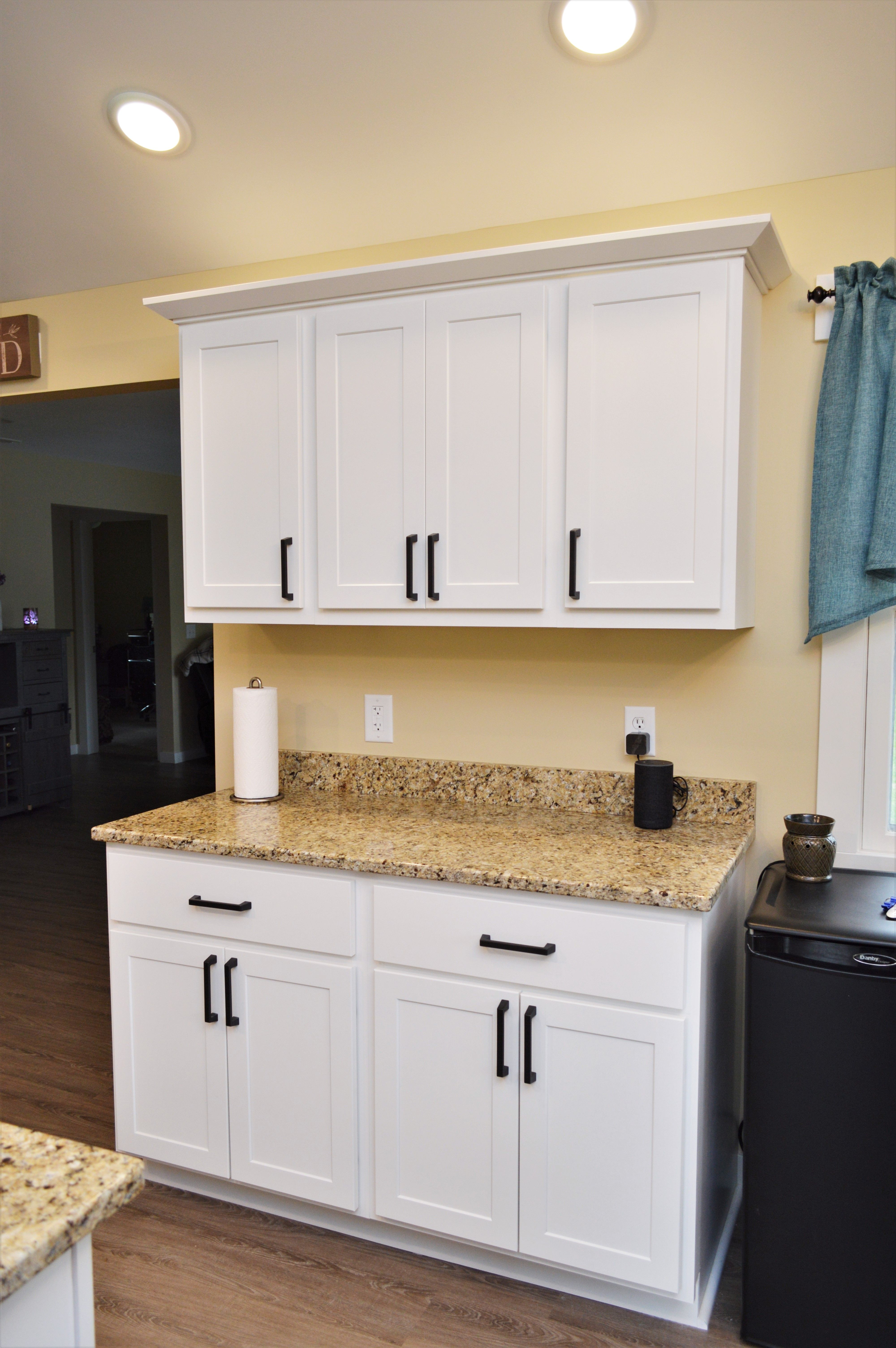 Bailey S Cabinets Kountry Wood Products Maple White Finish Georgetown Door Style Kitchen Cabinetry White Kitchen Cabinet