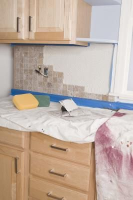 Kitchen Backsplash Removal how to fill a kitchen cabinet void from a trash compactor removal