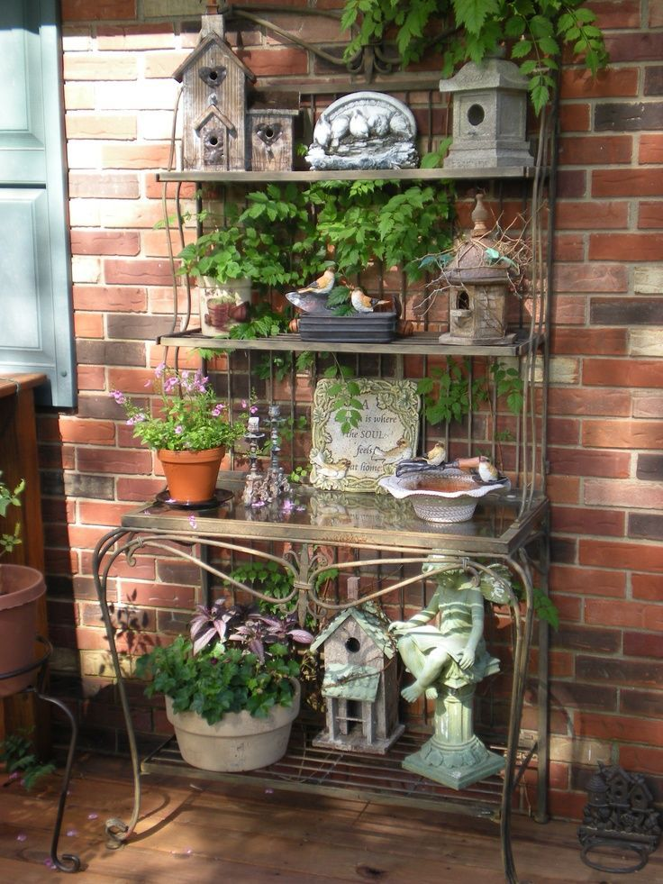 Large Bakers Rack, Potted Plants, Bird Houses, Etc. For Your Garden Or  Porch.