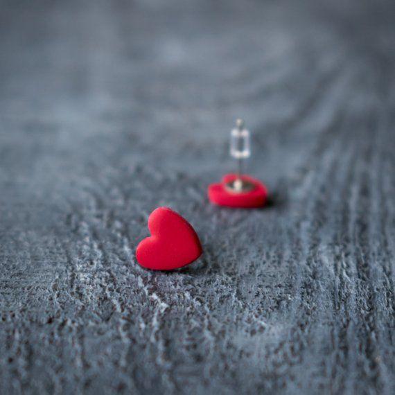 Valentines Earrings Valentines Gift,Lovely Ear Studs Heart Studs Heart Jewelry Valentines Jewelry Valentines Day Earrings