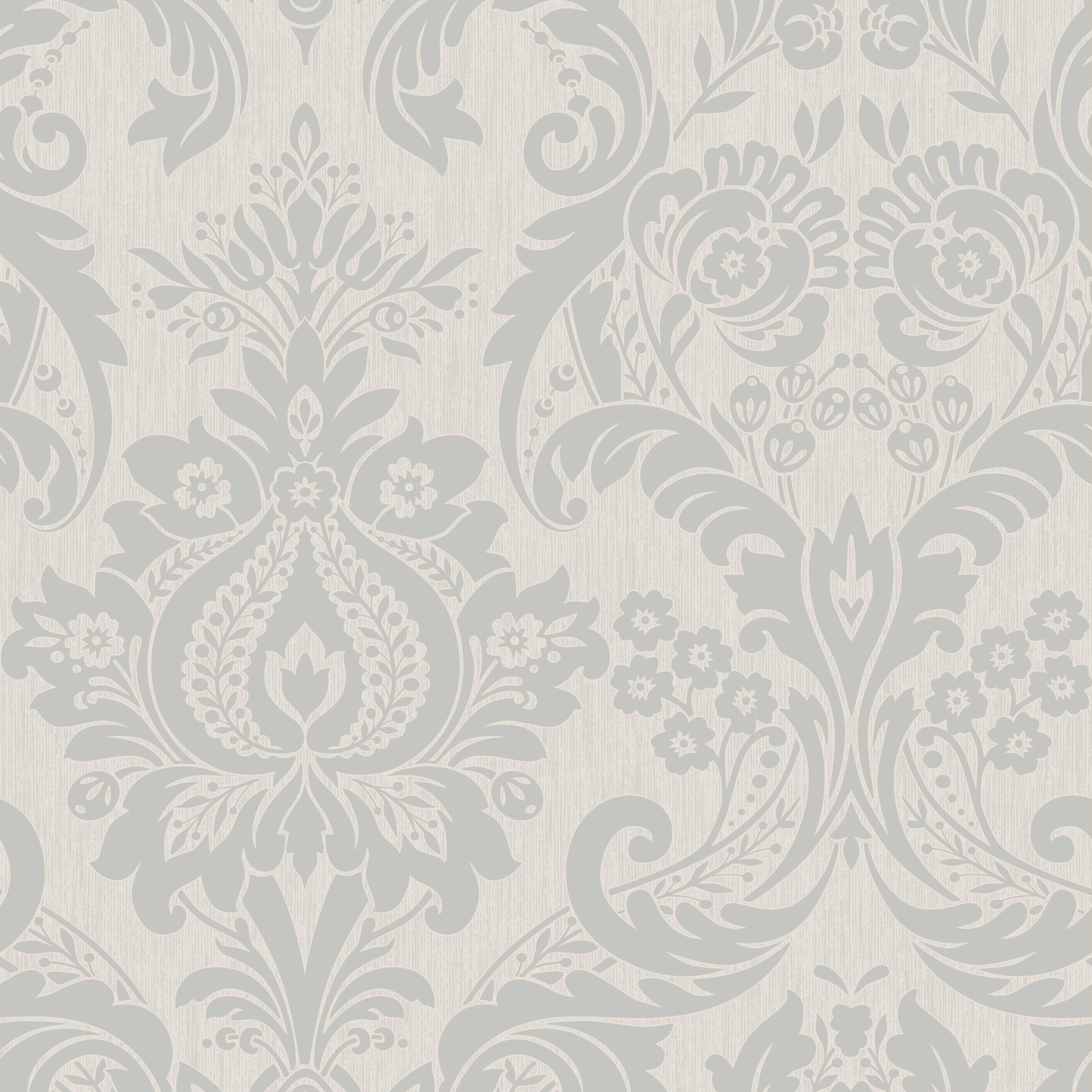Hermes Silver Damask Wallpaper Departments Diy At B Q Silver