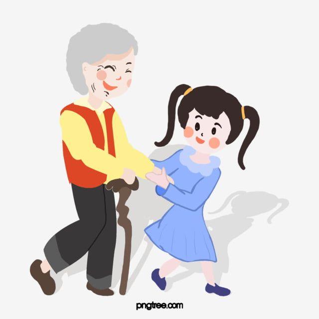 فتاة تساعد كبار السن لعبور عكازات الطريق فتاة مساعدة كبار السن عبور الطريق Png وملف Psd للتحميل مجانا Helping The Elderly Crutches Elderly