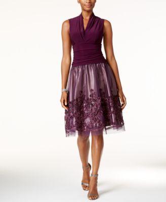 SL Fashions Surplice Soutache Fit & Flare Dress   macys.com