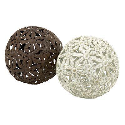 Cole & Grey 2 Piece Metal Ball Set