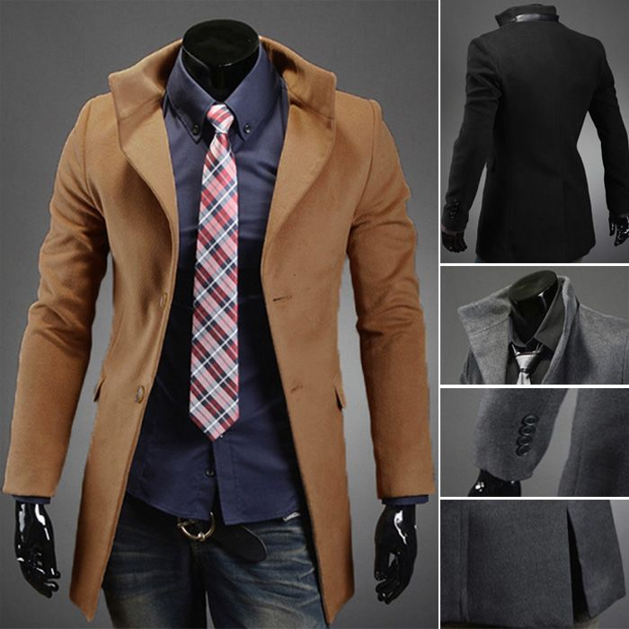 Men's Fashion Slim Fit Single Breasted Long Jacket Coat