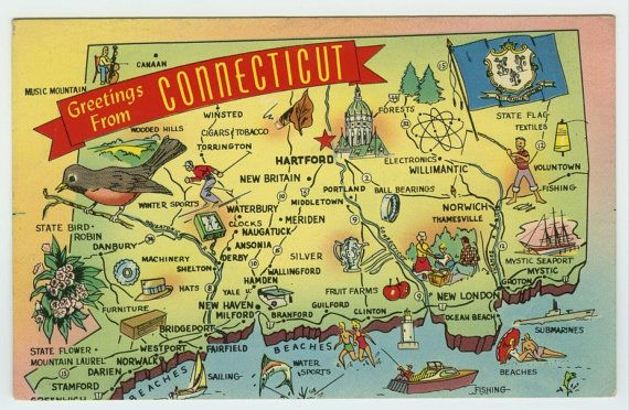 Greetings From Connecticut CT Illustrated by HilltopPostcardShop