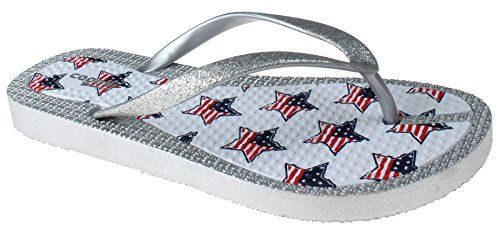Star Flags Print Flexy Fusion Body Ladies Flip Flops