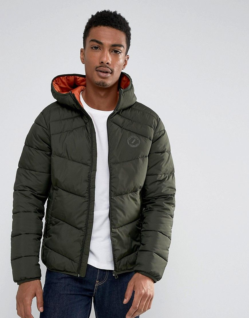 f70ffd9a768b Jack   Jones Originals Quilted Jacket with Hood - Green