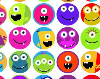 KPM digital collage sheet monsters 2 3/4 inch by kpmdoodles