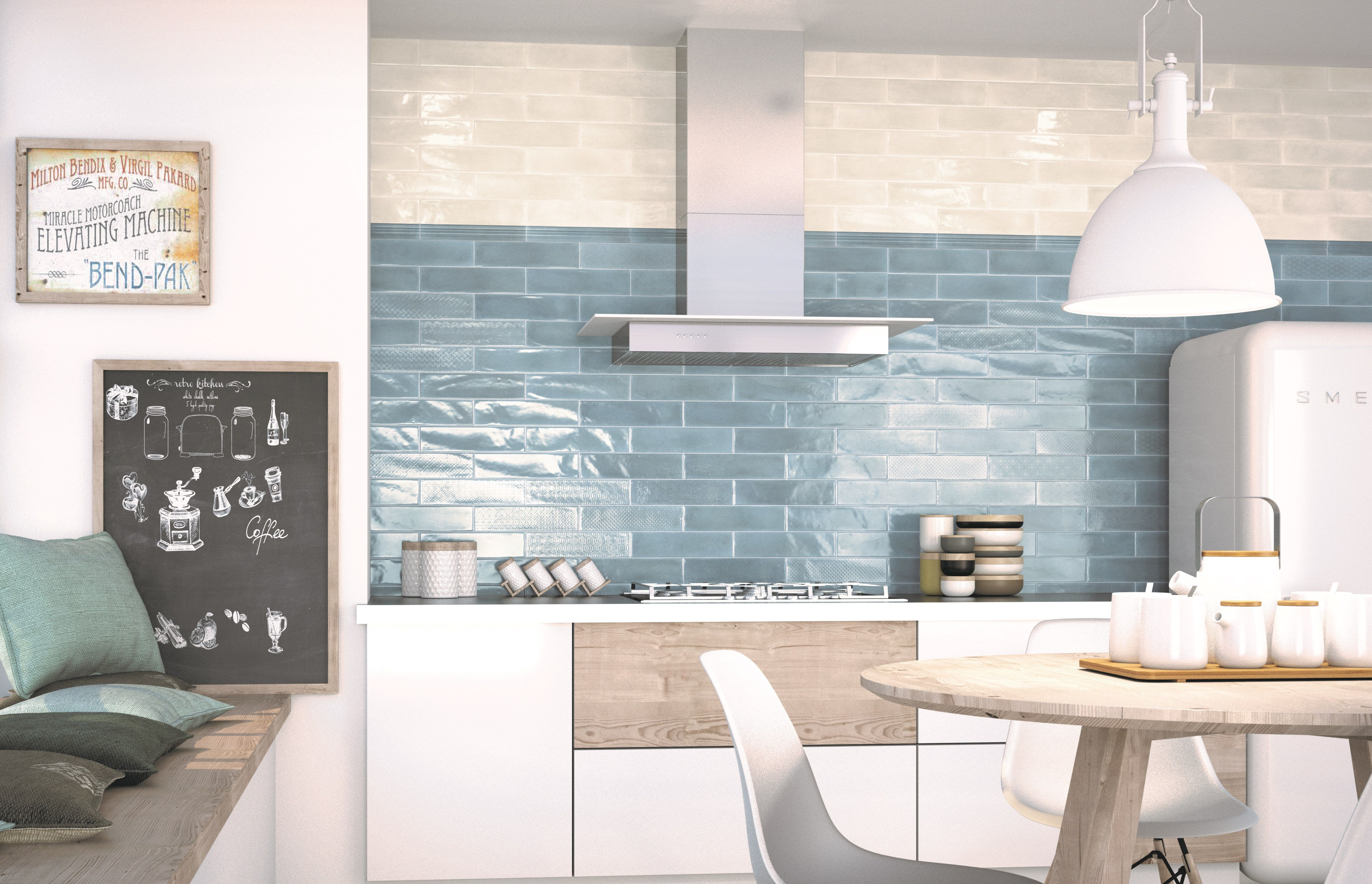 Sky blue metro tiles to add a splash of colour to a modern simple ...