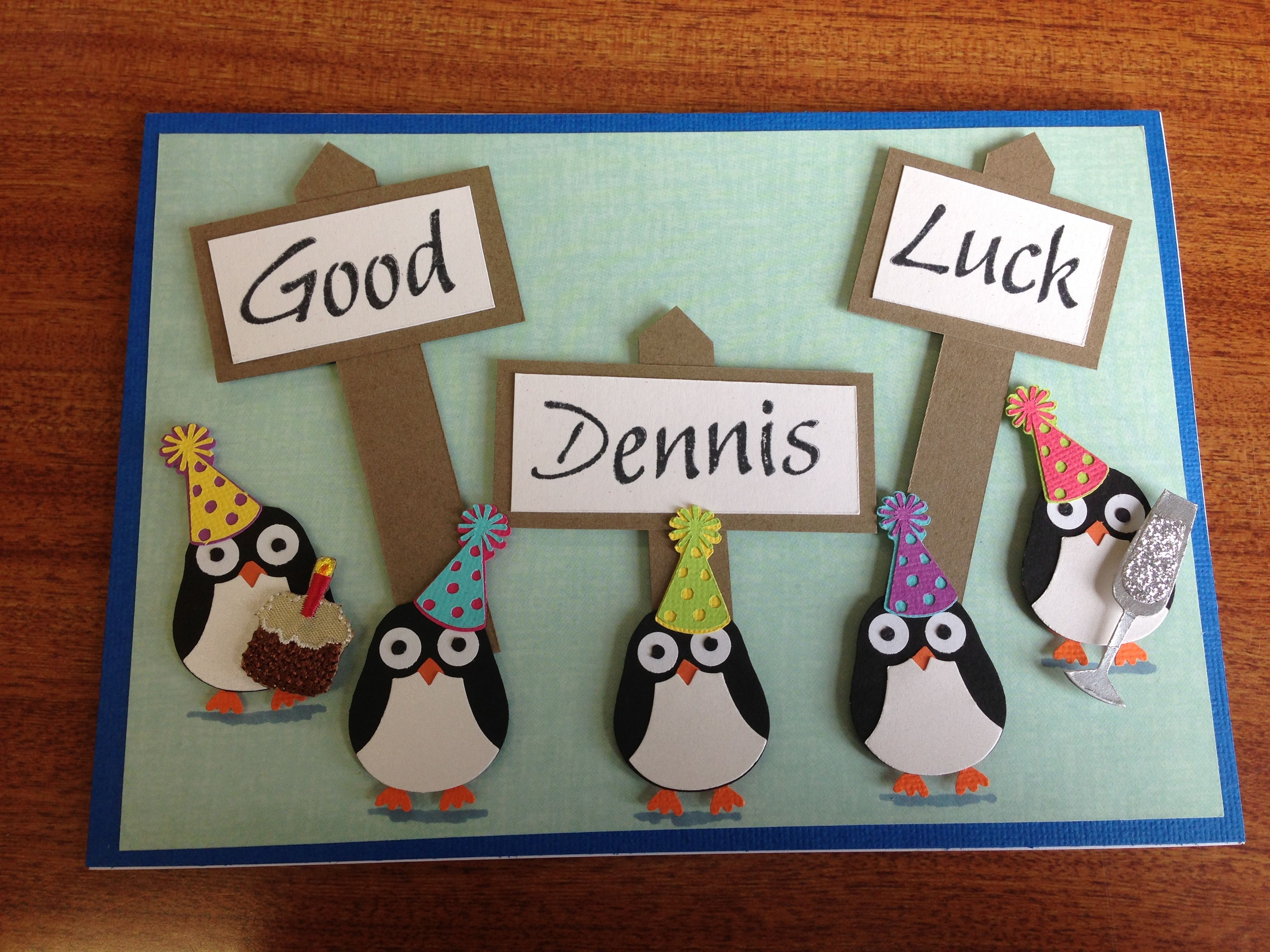 Personalised good luck card using the SU owl punch to make cute little penguins!