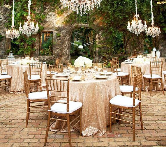 Champagne Gold Sequin Tablecloth Round Wedding Tablecloth Sparkle Wedding Reception Idea Ad Champagne Sequin Tablecloth Outdoor Wedding Sequin Tablecloth