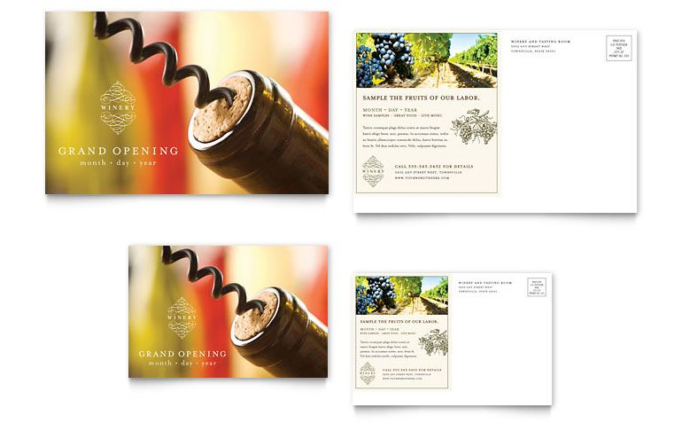 vineyard and winery postcard template design by stocklayouts - Graphic Design Business Ideas