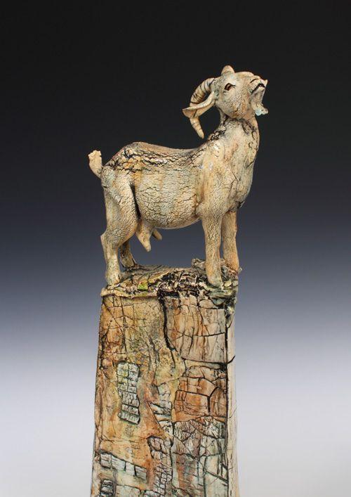 Annie Peaker Contemporary Figurative Ceramics Ceramic Art Sculpture Goat Art Animal Sculptures