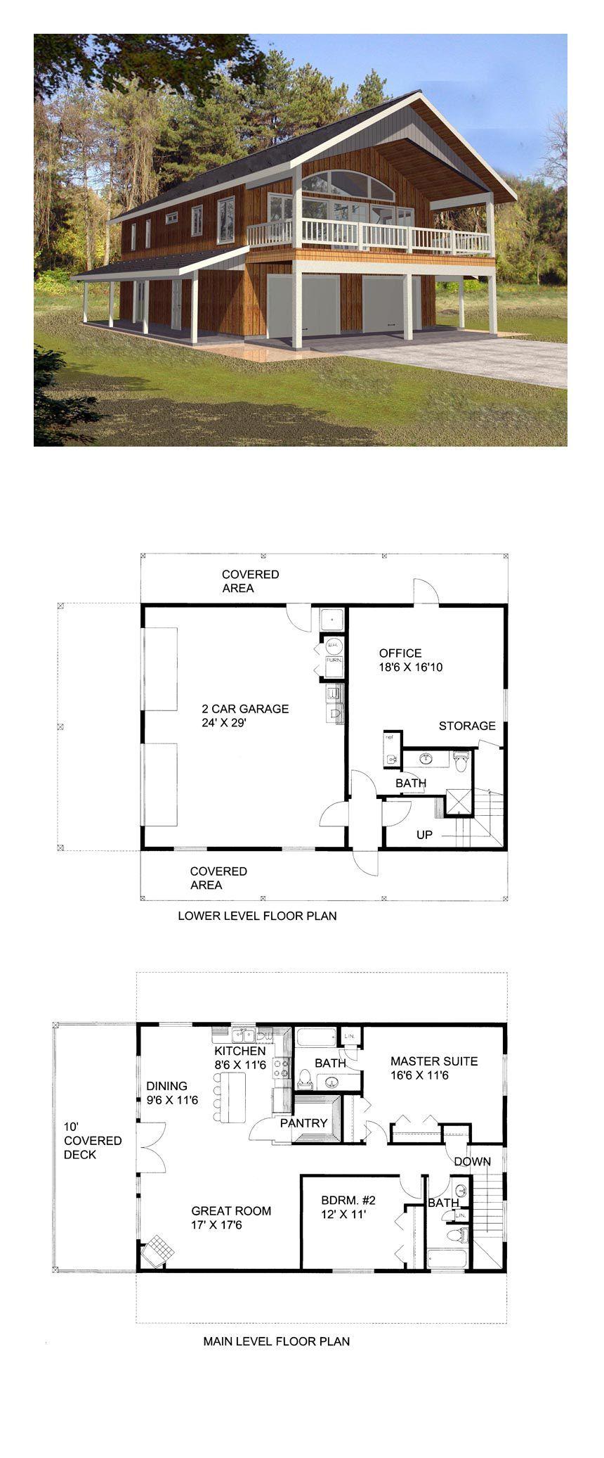 Modern Farmhouse Style 2 Car Garage Apartment Plan Number