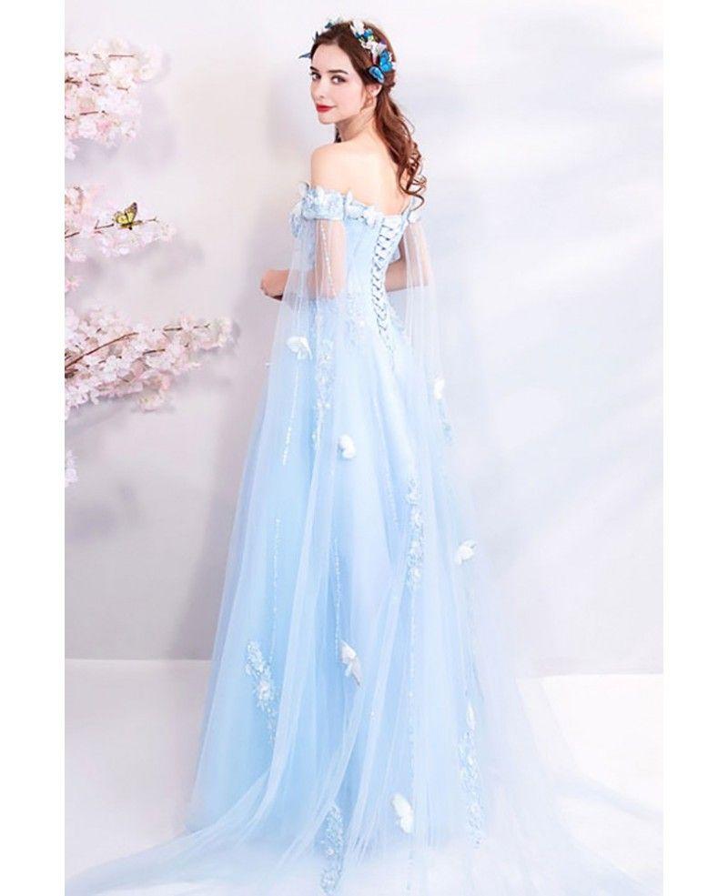 Dreamy fairytale blue tulle long prom dress off shoulder