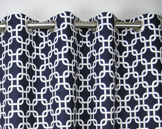 Navy Blue White Modern Geometric Embrace Contemporary Curtains ...
