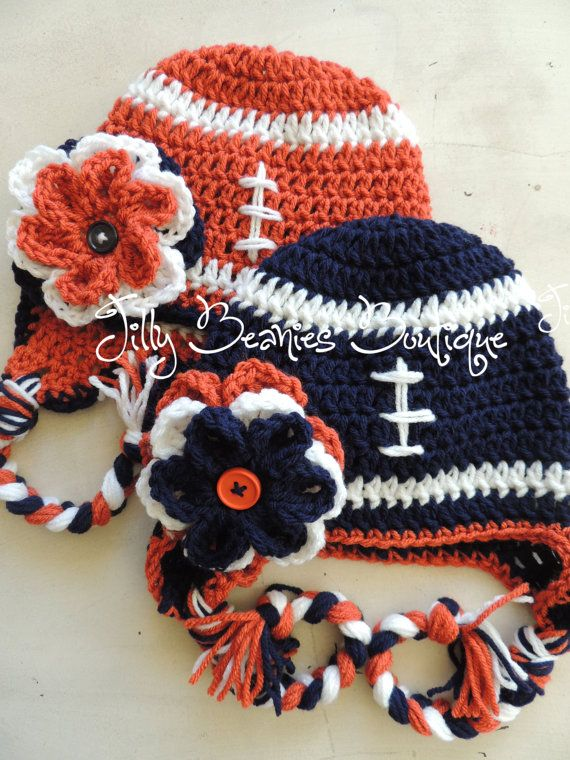 Crocheted Football Beanie   Crafty Hats and Headbands   Pinterest ...