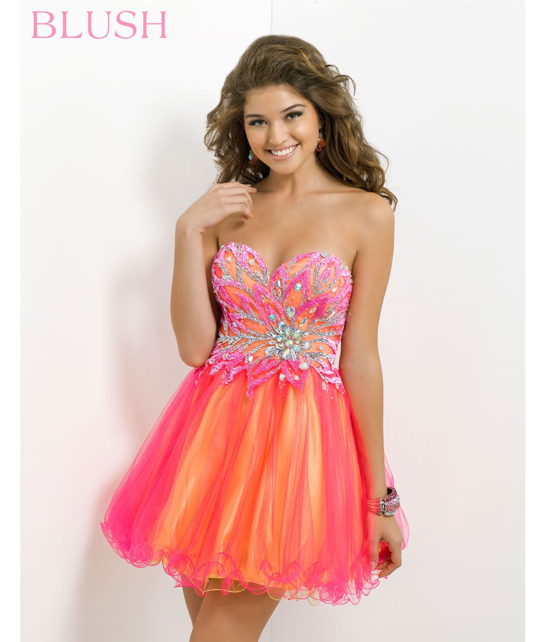 Blush 2014 Prom Dresses – Hot Pink & Yellow Strapless Short Prom ...