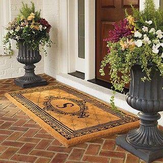 Hudson monogrammed door mat outdoor entryway ideas for Outdoor mudroom ideas