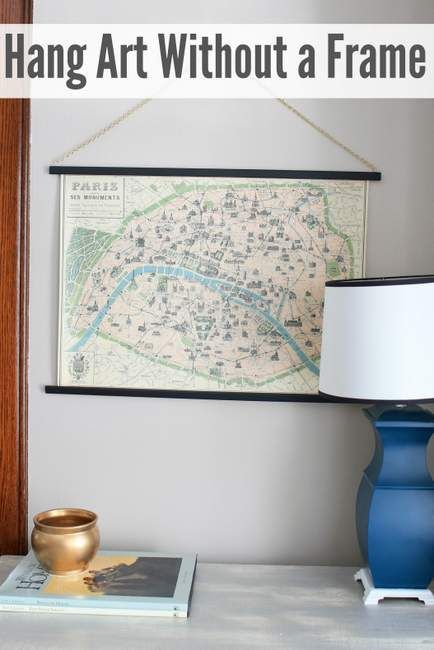 Want a simple way to hang a large scale map or poster? Hereu0027s how - copy large world map for the wall