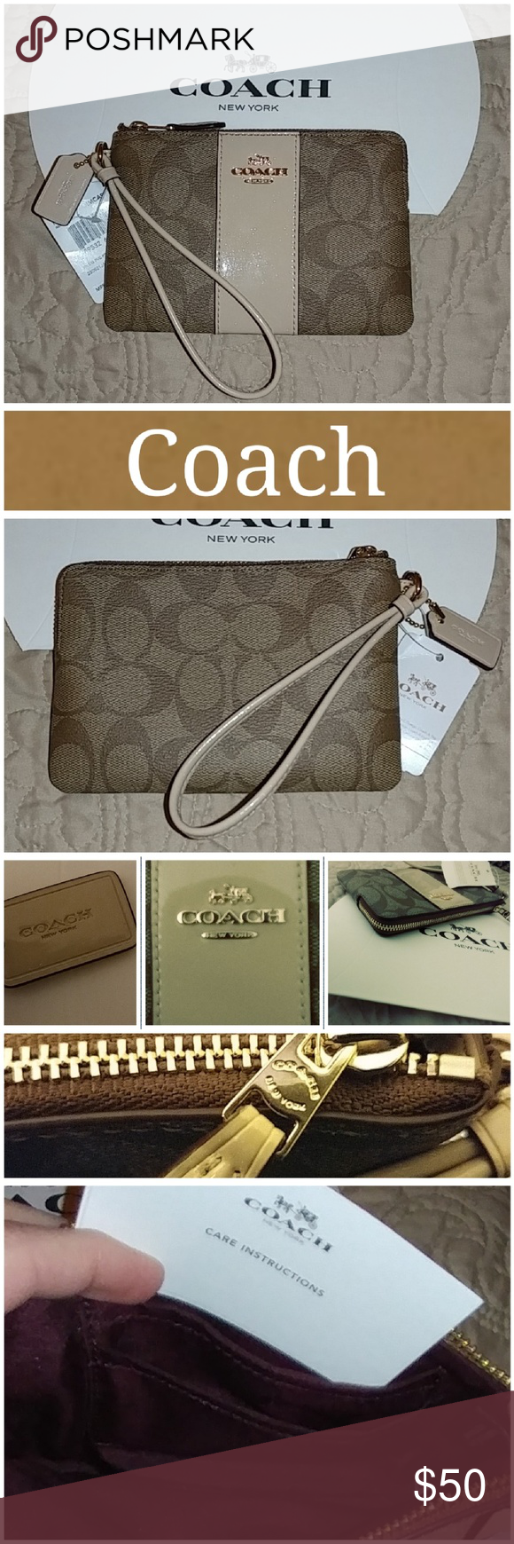 NWT Coach Wristlet! Signature Coach wristlet.  Corner zip closure.  Khaki platinim. Gold tone hardware.  Wrist strap.  Two credit cards pockets inside.  Excellent condition.  Never used.  From smoke free home. LOC CL2-2 Coach Bags Clutches & Wristlets