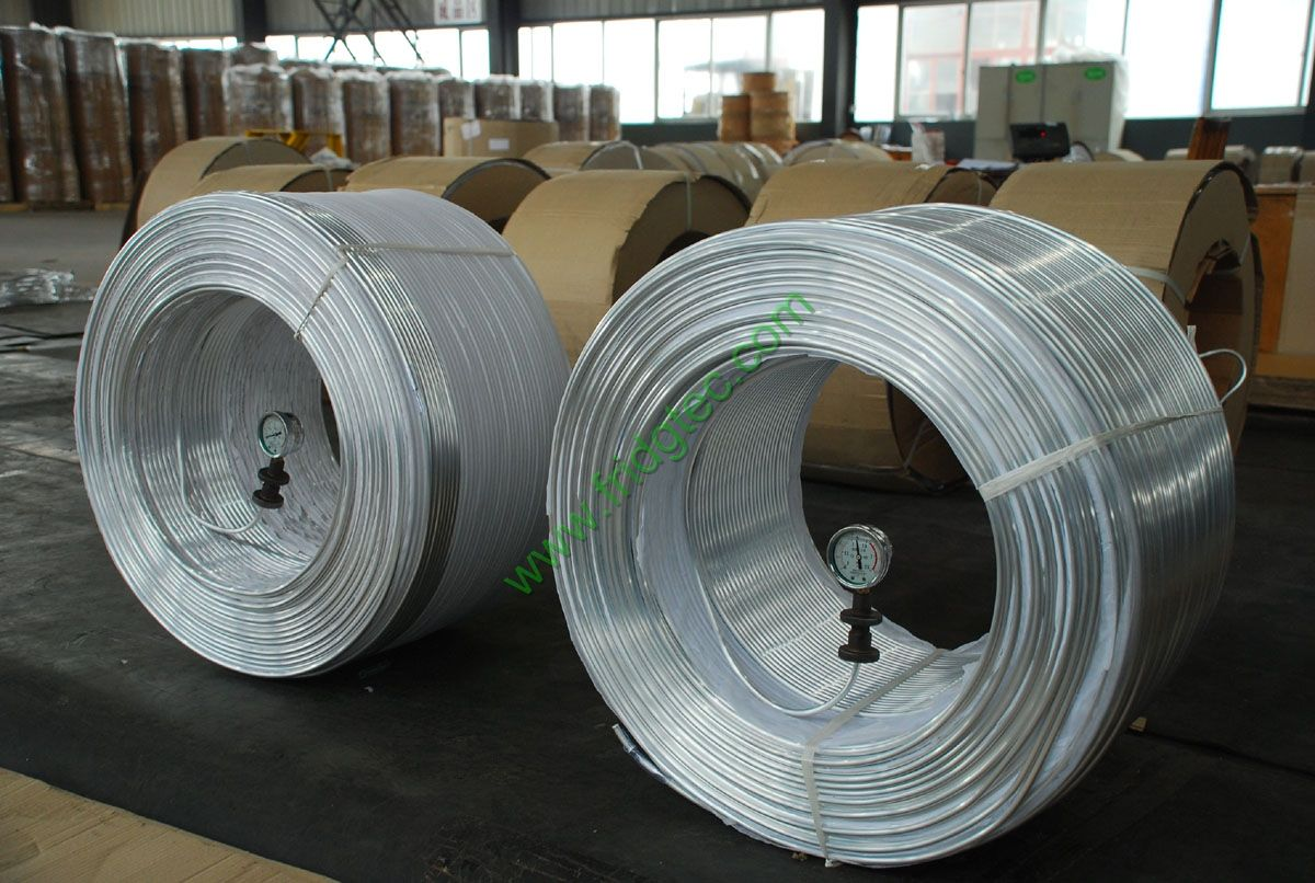 evaporator aluminum tube in coils, used in refrigeration