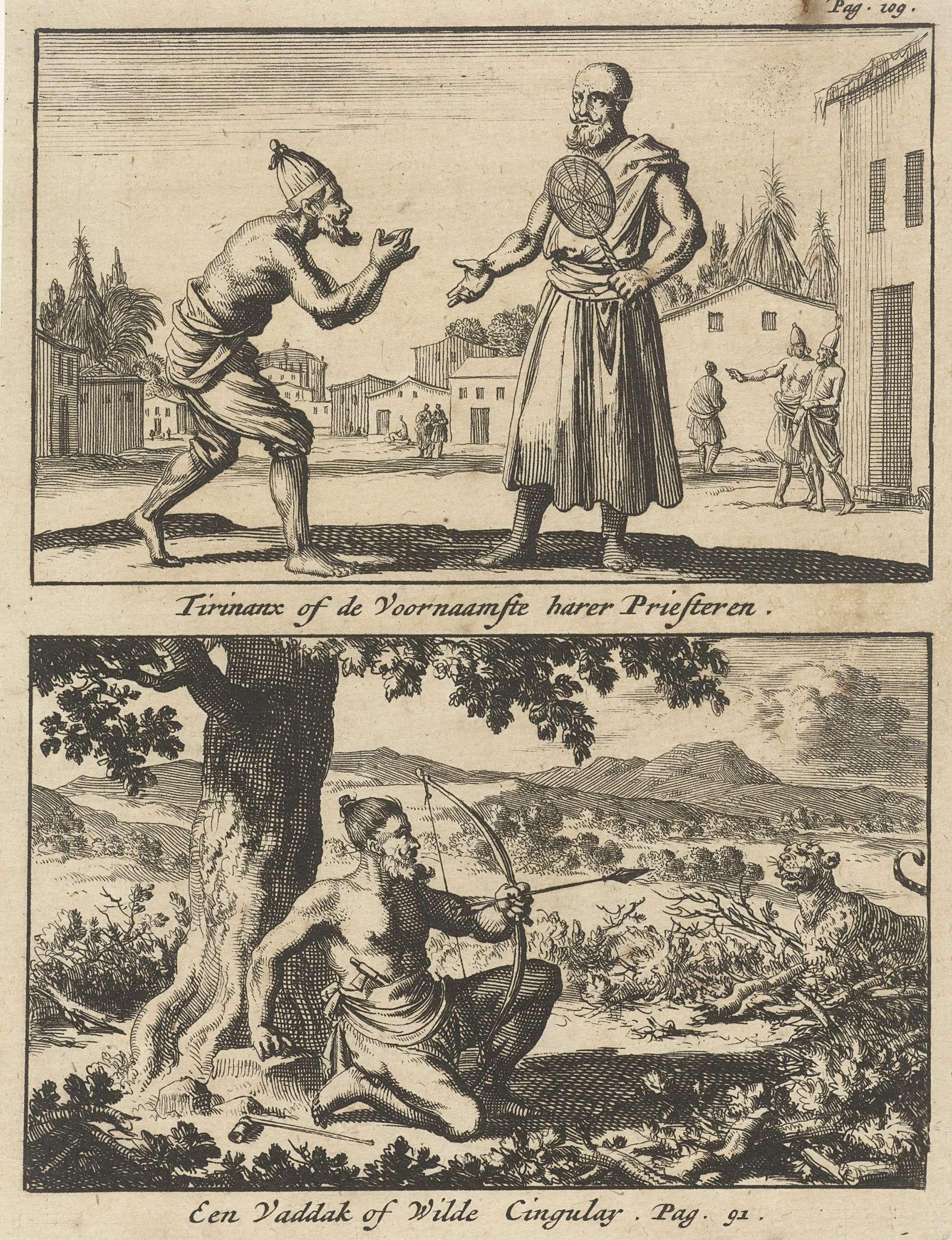 Jan Luyken   Figuur smekend voor een priester / Jager richt zijn pijl en boog op een tijger, Jan Luyken, Willem Broedelet, 1692   Twee voorstellingen van één plaat. Prent rechtsboven gemerkt: Pag. 109.