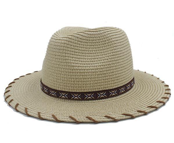 9d30d1a6b4d FuzWeb Summer Women Men Seaside Toquilla Straw Sun Hat With HandWork Wide  Brim Fedora For Elegant Lady Sunbonnet Beach Hats Panama Cap