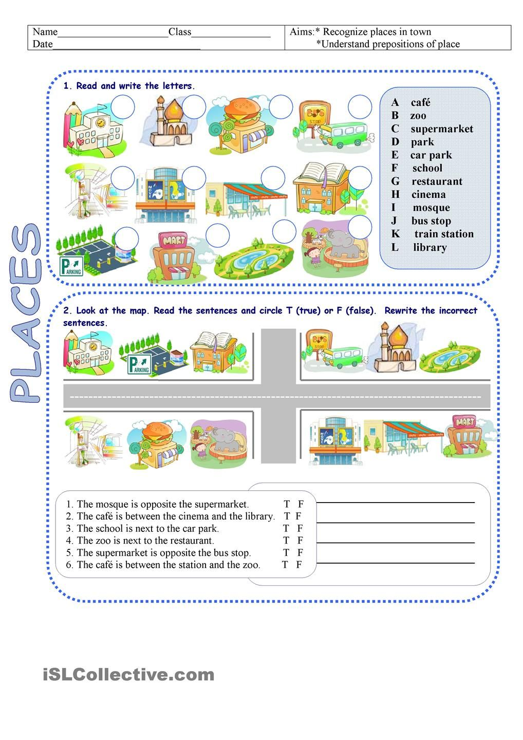 Places In Town Directions Esl 2 Pinterest Worksheets Auditory