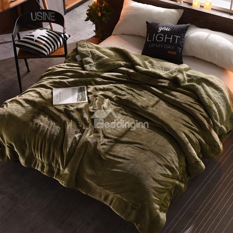 Solid Olive Green Flannel Reversible Plush Super Soft Fluffy Throw
