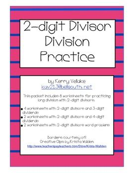 Long Division Practice Packet with 2-Digit Divisors | Division ...