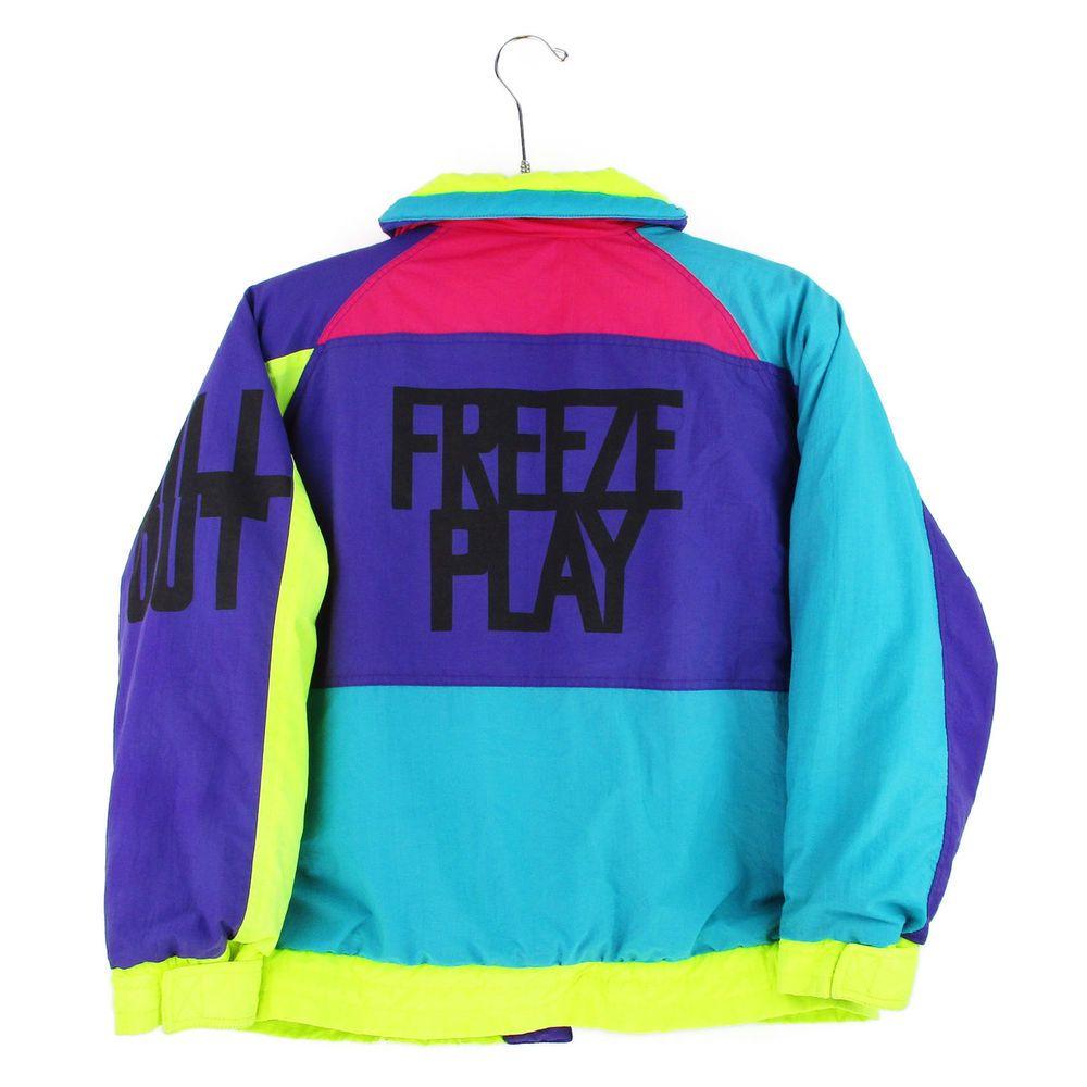 58de0b5f73 Izzi Ski Jacket Mens Medium M Vtg 90s Puffer Coat Neon Colorblock Spellout  Snow  IZZI  Ski