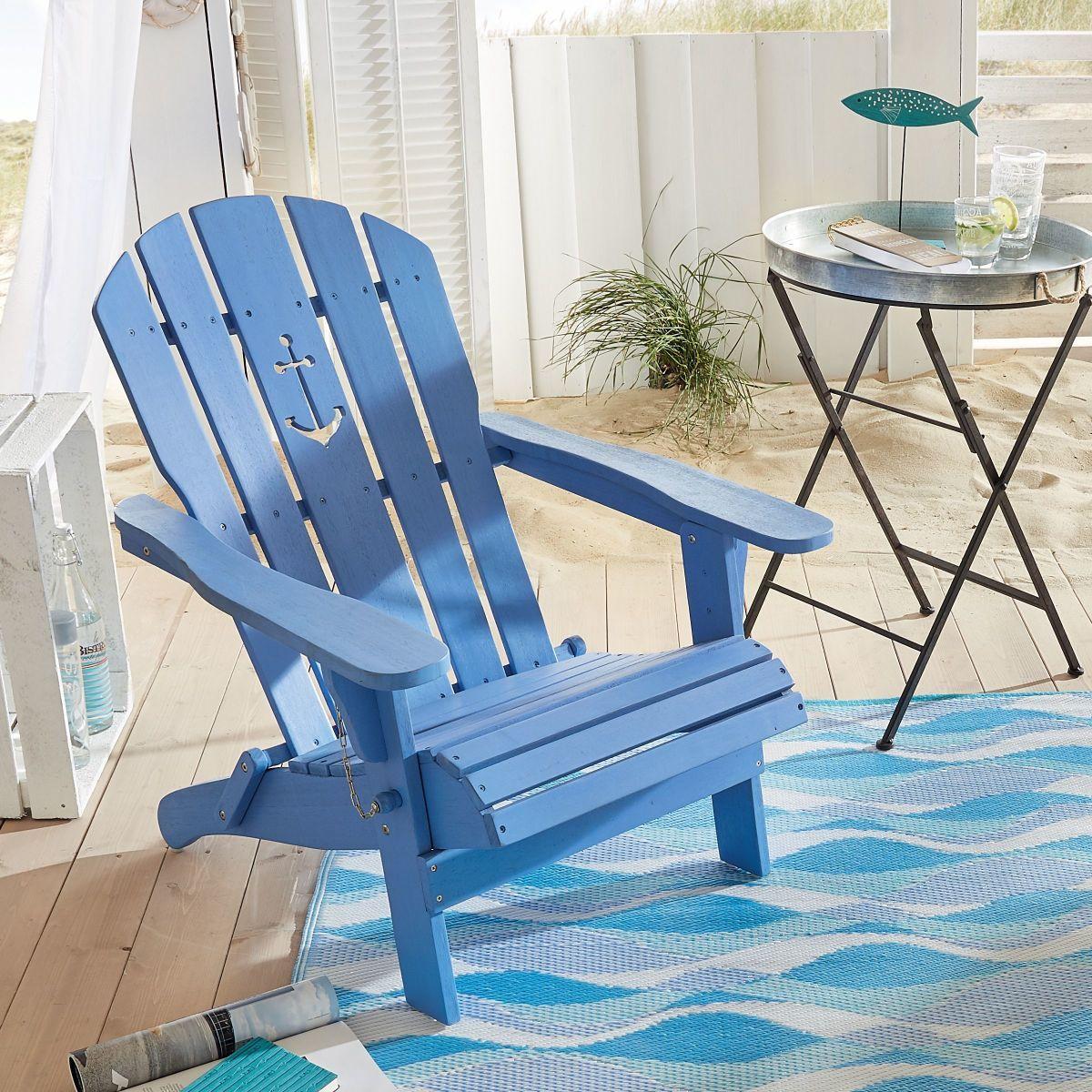 Gartenstuhl Anker, Adirondack Chair klappbar, Maritimer Look, Holz ...