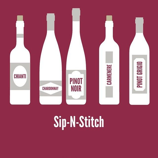 Sip-N-Stitch by Cut Craft Mom Girls night out to learn hand embroidery with Wool Kits and Great bottles of wine! www.cutcraftmom.com